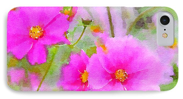 IPhone Case featuring the painting Watercolor Pink Cosmos by Bonnie Bruno