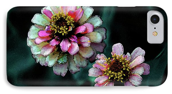 Watercolor Pink Zinnias And Smoke 2227 W_2 IPhone Case
