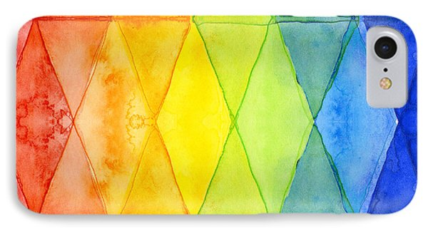 Watercolor Rainbow Pattern Geometric Shapes Triangles IPhone Case