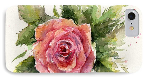 Watercolor Rose IPhone Case by Olga Shvartsur