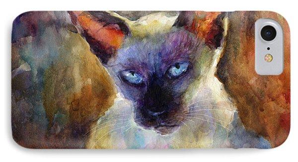 Watercolor Siamese Cat Painting IPhone Case by Svetlana Novikova