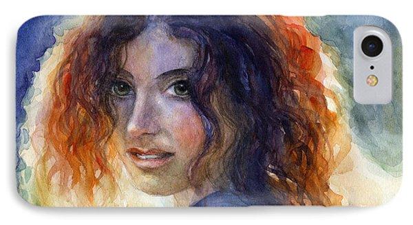 Watercolor Sunlit Woman Portrait 2 Phone Case by Svetlana Novikova