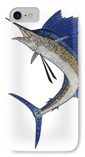 Watercolor Tribal Sailfish Phone Case by Carol Lynne