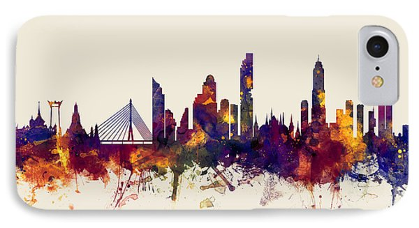 watercolour, watercolor, urban,  Bangkok, Bangkok skyline, bangkok cityscape, city skyline, thailand IPhone Case