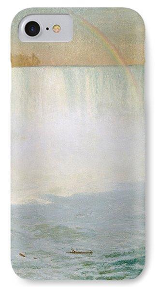 Waterfall And Rainbow At Niagara Falls IPhone Case by Albert Bierstadt
