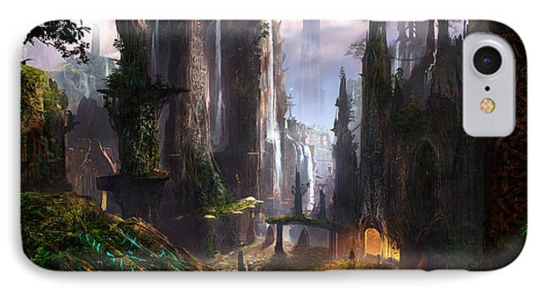 Waterfall Celtic Ruins IPhone Case by Alex Ruiz