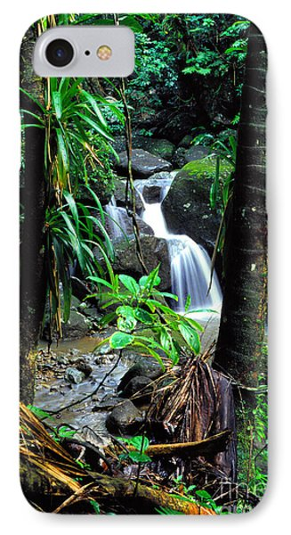 Waterfall El Yunque National Forest Mirror Image Phone Case by Thomas R Fletcher