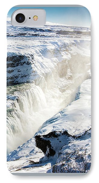IPhone Case featuring the photograph Waterfall Gullfoss Iceland In Winter by Matthias Hauser