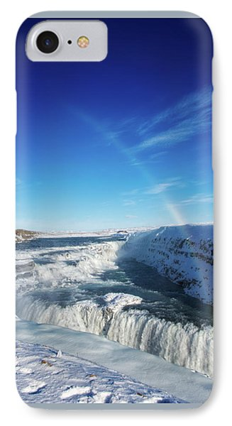 IPhone Case featuring the photograph Waterfall Gullfoss In Winter Iceland Europe by Matthias Hauser