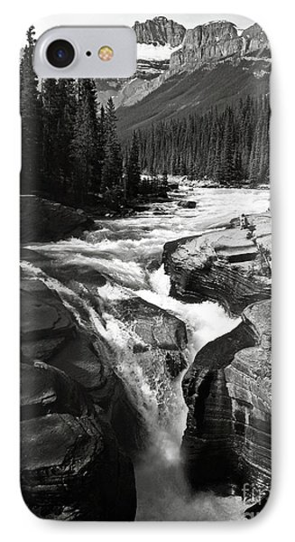IPhone Case featuring the photograph Waterfall In Banff National Park Bw by RicardMN Photography