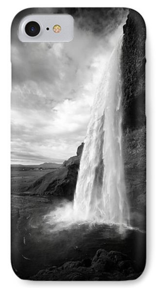 IPhone Case featuring the photograph Waterfall In Iceland Black And White by Matthias Hauser