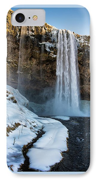 IPhone Case featuring the photograph Waterfall Seljalandsfoss Iceland In Winter by Matthias Hauser