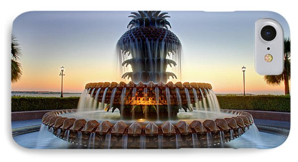 Waterfront Park Pineapple Fountain In Charleston Sc IPhone Case by Pierre Leclerc Photography