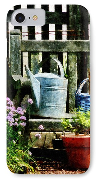 Watering Can And Blue Basket Phone Case by Susan Savad