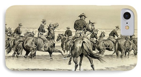 Watering The Texas Horses Of The Third Cavalry In Lake Michigan IPhone Case by MotionAge Designs