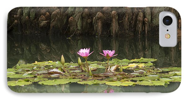 IPhone Case featuring the photograph Waterlilies And Cyprus Knees by Linda Geiger