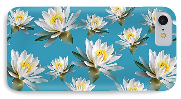 IPhone 7 Case featuring the mixed media Waterlily Pattern by Christina Rollo