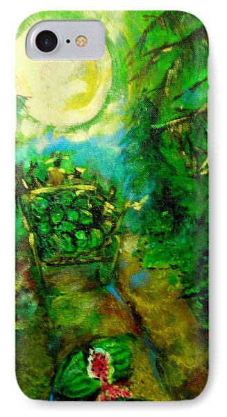 IPhone Case featuring the painting Watermelon Wagon Moon by Seth Weaver