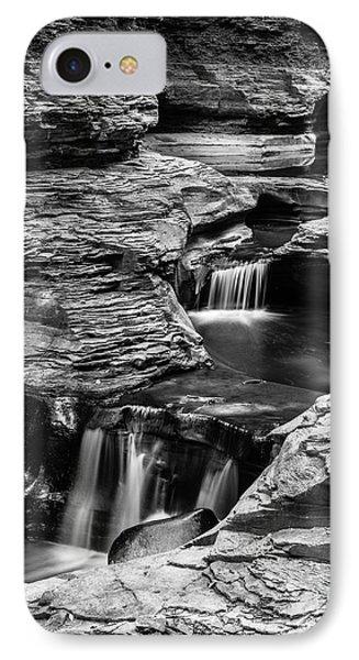 Watkins Glen Gorge Waterfall Black And White IPhone Case by Edward Fielding