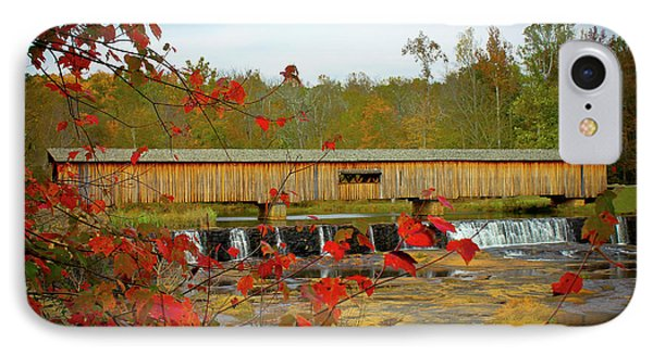Watson Mill Covered Bridge Autumn IPhone Case by Reid Callaway