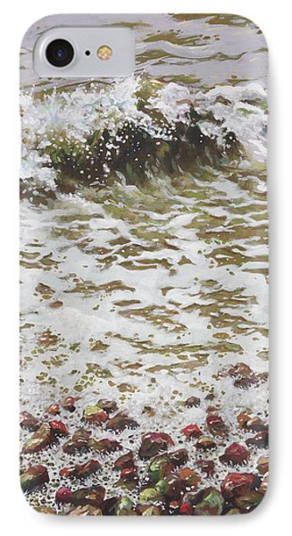 IPhone Case featuring the painting Wave And Colorful Pebbles by Martin Davey