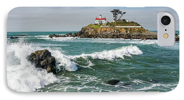 Wave Break And The Lighthouse IPhone Case by Greg Nyquist
