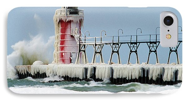 Wave Crashing On Snow-covered South IPhone Case by Panoramic Images