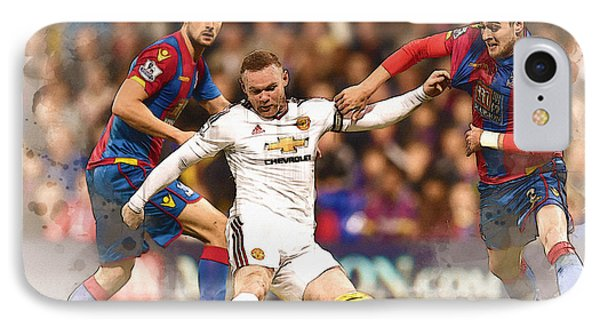 Wayne Rooney Shoots At Goal IPhone 7 Case by Don Kuing