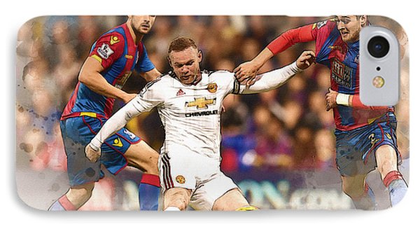 Wayne Rooney Shoots At Goal IPhone Case by Don Kuing