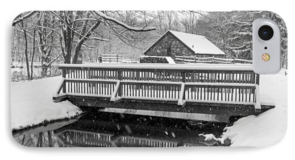 Wayside Inn Grist Mill Covered In Snow Bridge Reflection Black And White IPhone Case