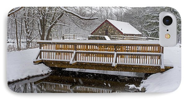 Wayside Inn Grist Mill Covered In Snow Bridge Reflection IPhone Case