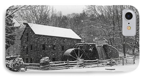 Wayside Inn Grist Mill Covered In Snow Storm Black And White IPhone Case