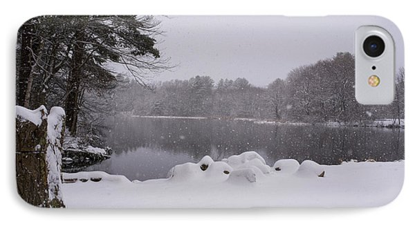 Wayside Inn Grist Mill Covered In Snow Storm Pond IPhone Case