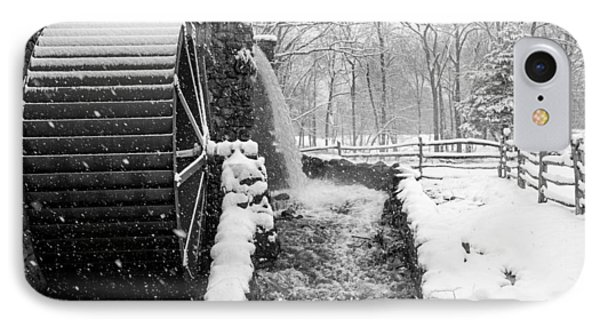 Wayside Inn Grist Mill Covered In Snow Storm Side View Black And White IPhone Case