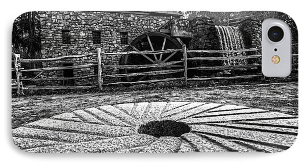 Wayside Inn Grist Mill Millstone Black And White IPhone Case