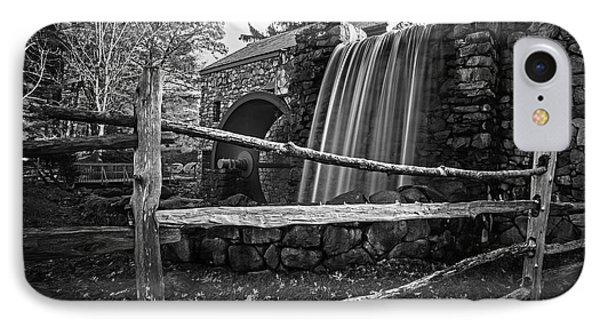 Wayside Inn Grist Mill Waterfall Sudbury Ma Black And White IPhone Case