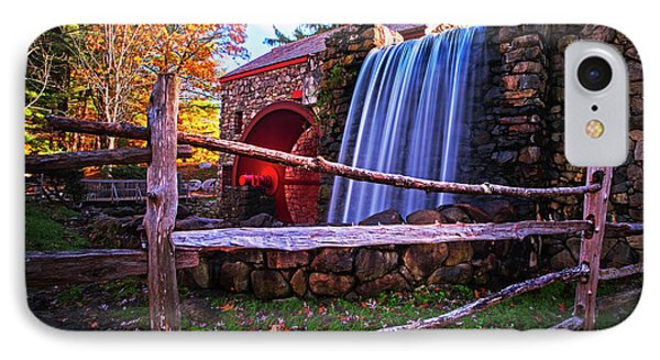 Wayside Inn Grist Mill Waterfall Sudbury Ma IPhone Case