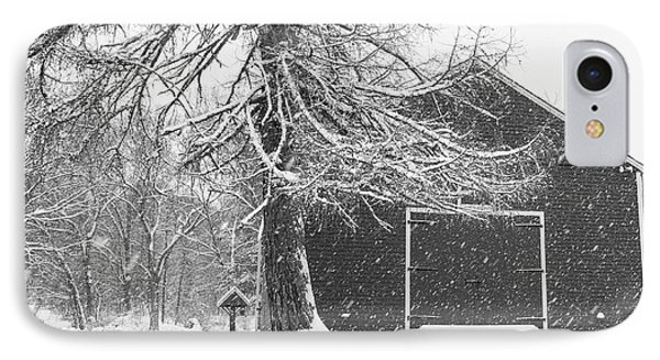 Wayside Inn Red Barn Covered In Snow Storm Reflection Black And White IPhone Case