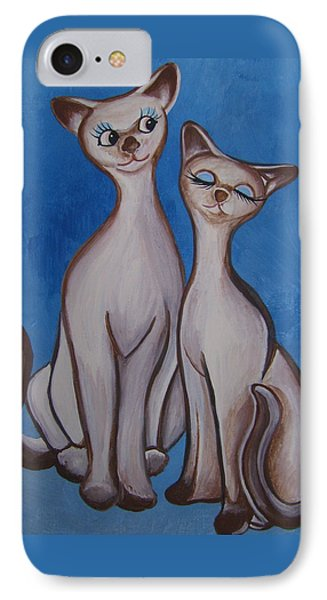 IPhone Case featuring the painting We Are Siamese by Leslie Manley