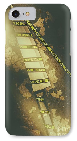 Weapon Wrapped In Yellow Crime Scene Ribbon IPhone Case by Jorgo Photography - Wall Art Gallery