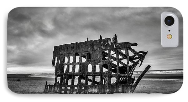 Weathered Rusting Shipwreck In Black And White Phone Case by Garry Gay