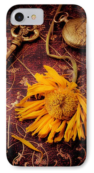 Weathered Sunflower With Gold Key IPhone Case