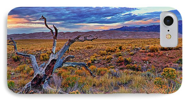 IPhone Case featuring the photograph Weathered Wood And Dunes - Great Sand Dunes - Colorado by Jason Politte