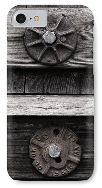 Weathered Wood And Metal Five IPhone Case by Kandy Hurley