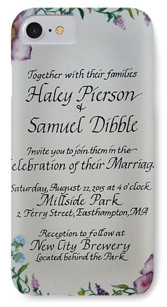 Wedding Invitation IPhone Case by Valerie Bassett
