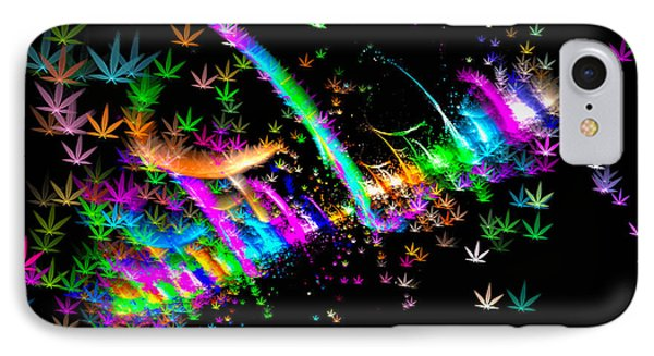 Weed Art - Colorful Fractal Joint IPhone Case by Matthias Hauser
