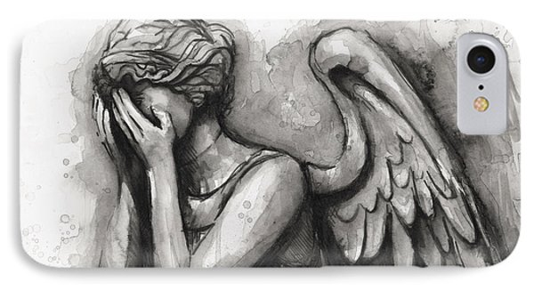 Weeping Angel Watercolor IPhone Case