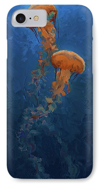 IPhone Case featuring the painting Weightless - Pacific Nettle Jellyfish Study  by Karen Whitworth