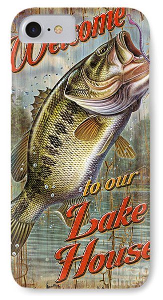 Welcome Lake House Sign IPhone Case by Jon Q Wright