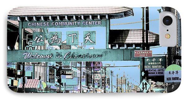 Welcome To Chinatown Sign Blue Phone Case by Marianne Dow